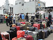 Indian evacuees from Yemen lining up for embarking INS Sumitra during Operation Raahat (1)