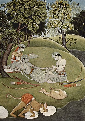 Ramayana - Rama with his wife Sita and brother Lakshmana during exile in forest, manuscript, ca. 1780