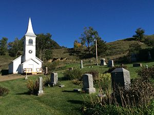 National Register of Historic Places listings in Monona County, Iowa - Image: Ingemann Danish Lutheran Church and Graveyard, Moorehead, Iowa