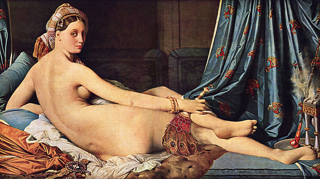 Jean Auguste Dominique Ingres, La Grande Odalisque. Ingres transposed the theme of the mythological nude, whose long tradition went back to the Renaissance, to an imaginary Orient. ...commissioned by Caroline Murat, Napoleon's sister and the queen of Naples