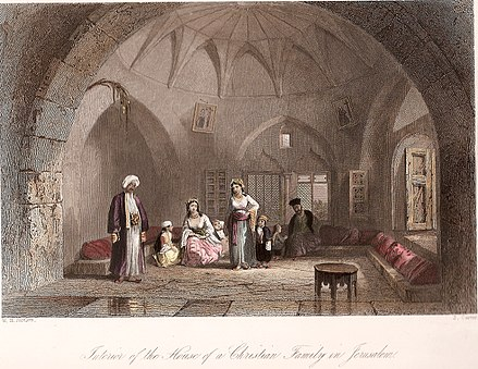 Illustration of Palestinian Christian home in Jerusalem, ca 1850. By W. H. Bartlett Interior of the House of a Christian Family in Jerusalem.jpg