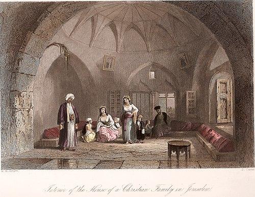 رسم يُصّور داخل منزل أسرة مسيحيّة فلسطينيّة من القدس، تعود لسنة 1850.