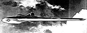 Interstate XBDR - Artist's concept of the Interstate XBDR-1 jet-powered assault drone in flight.