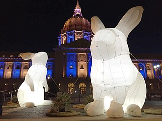 Easter Bunny - Inflatable Easter bunny in front of San Francisco City Hall