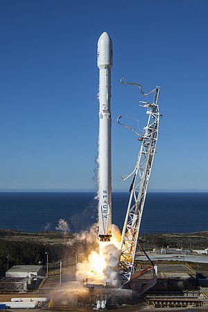 Falcon 9 rocket lifts off from Vandenberg AFB SLC-4E with the first ten Iridium NEXT satellites.