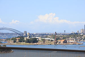 Cockatoo Island (New South Wales) - Cockatoo Island from the Gladesville Bridge