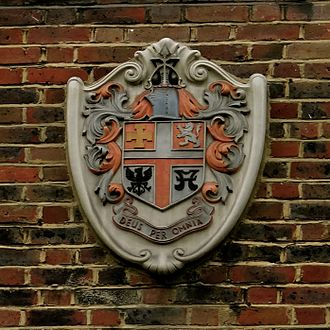 Metropolitan Borough of Islington - Coat of arms shown affixed to Orwell Court, municipal housing in Petherton Road