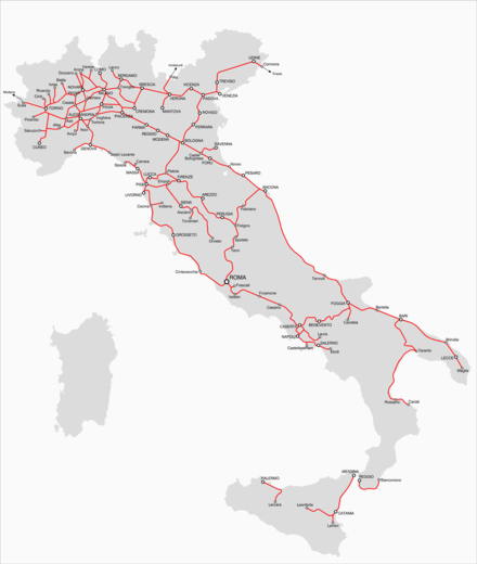 Rail lines in Italy in 1870 Italia ferrovie 1870 09 20.png