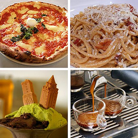 Clockwise from top left; some of the most popular Italian foods: pizza (Margherita), pasta (Carbonara), espresso, and gelato Italian food.JPG