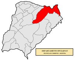 location of  Ituzaingó Department in Corrientes Province