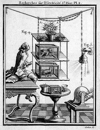 Jean-Antoine Nollet - Effects of electricity on living organisms and electrospray, Recherches sur les causes particulières des phénomènes électriques,, 1749 (Wellcome L0007028)