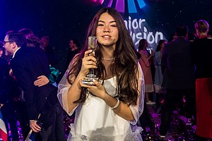 Junior Eurovision Song Contest 2017 - Polina Bogusevich with the trophy