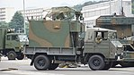 JGSDF Type 73 chugata truck(08-0080) with JS-P5 power supply shelter of JTPS-P9 radar unit(driving mode) right front view at JMSDF Maizuru Naval Base July 29, 2017.jpg