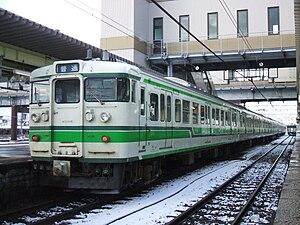 Niitsu Station - A 115 series EMU at Niitsu Station in January 2008