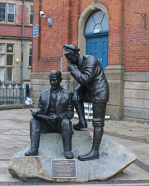 It's a Long Way to Tipperary - Bronze statue commemorating Jack Judge, the writer of the song, in Stalybridge. A World War I soldier is whispering to him.