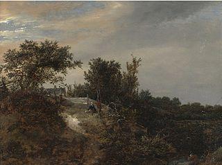 Paysage de dune avec deux figures et un pêcheur à droit