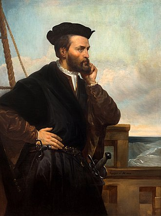 French colonization of the Americas - Portrait of Jacques Cartier by Théophile Hamel, arr. 1844