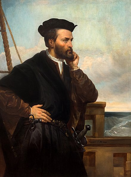 A depiction of Jacques Cartier by Theophile Hamel, 1844. No contemporary likeness of Cartier has been found to exist. Jacques Cartier 1851-1852.jpg