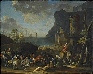 Jan Baptist van der Meiren - Mediterranean harbour scene with Turkish merchants loading a caravan
