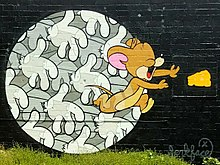 Mural by Jerkface of Jerry the mouse in Little Five Points Atlanta
