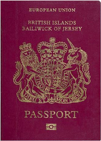 Jersey passport - The front cover of a contemporary Jersey biometric passport.