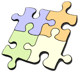 a drawing of a 4 piece jigsaw puzzle
