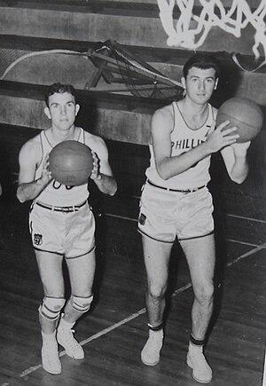 Jimmy McNatt - Jimmy McNatt (left) and Hank Luisetti (right), Phillips 66ers teammates, during the 1941-42 AAU basketball season.