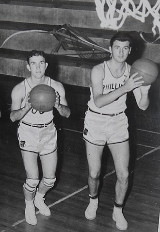 Jimmy McNatt - Jimmy McNatt (left) and Hank Luisetti (right), Phillips 66ers teammates, during the 1941-42 AAU basketball season.
