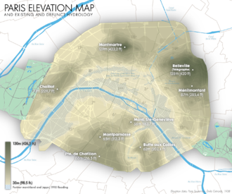1910 Great Flood of Paris - Map of Paris with blue hatched zone representing approximately the floods of 1910.