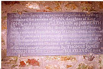 Joan, Lady of Wales - The slate panel at Beaumaris