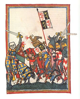 Battle of Worringen - John I, Duke of Brabant, at the Battle of Worringen, Codex Manesse, about 1340