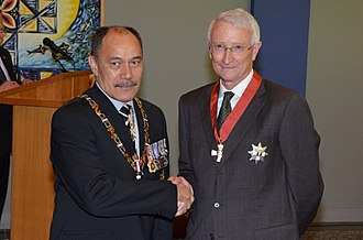 John Hood (university administrator) - Hood (right) in 2014, after his investiture as a Knight Companion of the New Zealand Order of Merit by the governor-general, Sir Jerry Mateparae