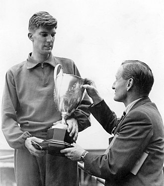 John Treloar (athlete) - Treloar receives a prize from Lord Burghley in 1948