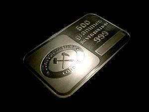 500g :en:silver bullion bar produced by :en:Jo...