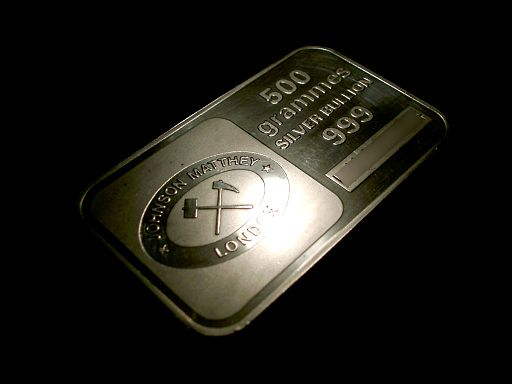 Johnson Matthey 500 grammes silver bullion