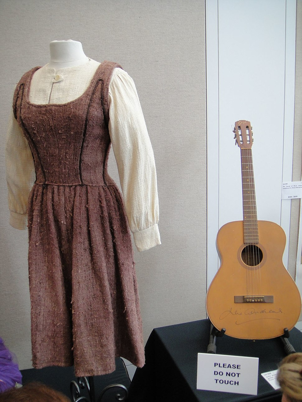 """Julie Andrews """"Maria"""" costume & Goya guitar signed by Andrews - Debbie Reynolds Auction"""