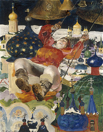 Filipp Malyavin - Young woman on a swing, circa 1910