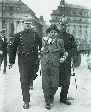 Swedish Police Authority - Stockholm police arresting a man for rioting, 1917