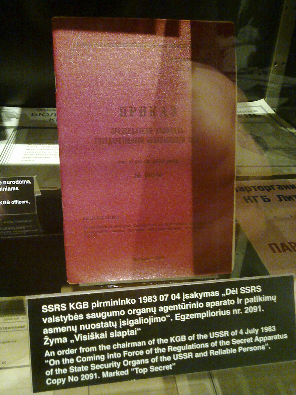 KGB Regulation seen in Museum of Genocide Victims Vilnius