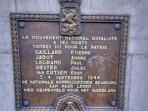 National Royalist Movement - Memorial plaque on the Rue de la Régence, Brussels commemorating five MNR members killed during the liberation of the city