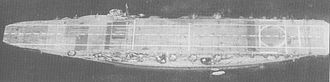 Japanese aircraft carrier Kaga - Kaga after reconstruction showing the new, full-length flight deck above the wide battleship hull.