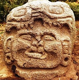 Kaminaljuyu - Late Preclassic sculpted head, found in Kaminaljuyú. Currently on the Museo Nacional de Arqueología (National Archaeological Museum, Guatemala).