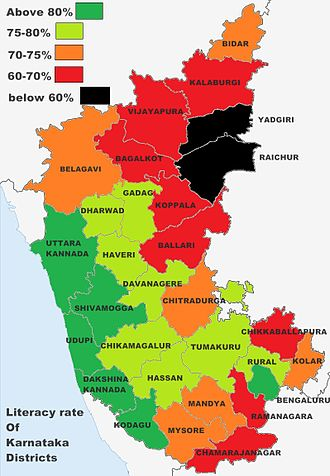 Literacy rates of Karnataka districts Karnataka stats.jpg
