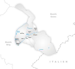 Bitsch, Switzerland - Image: Karte Gemeinde Bitsch