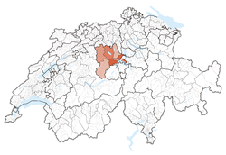 Map of Switzerland, location of کانتون لوسرن highlighted