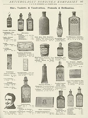Pomade - Swedish ad for toiletries, 1905/1906.