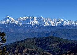 View of Himalayan peaks from Kausani.