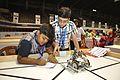 Kavish Maiydial and Jashan khandelwal Preparing Their Robot - Indian National Championship - WRO - Kolkata 2016-10-22 8324.JPG