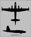 Kawasaki P-2J two-view silhouette.png
