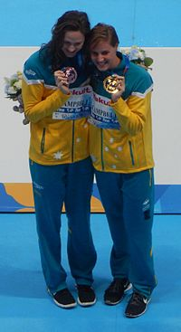 Kazan 2015 - Victory Ceremony Campbell sisters 100m freestyle.JPG
